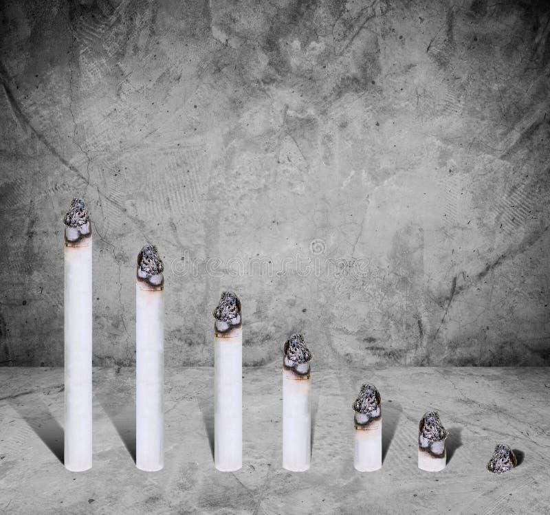 Cigarettstångdiagram, begrepp av skadligt av cigaretten, på konkret textur vektor illustrationer