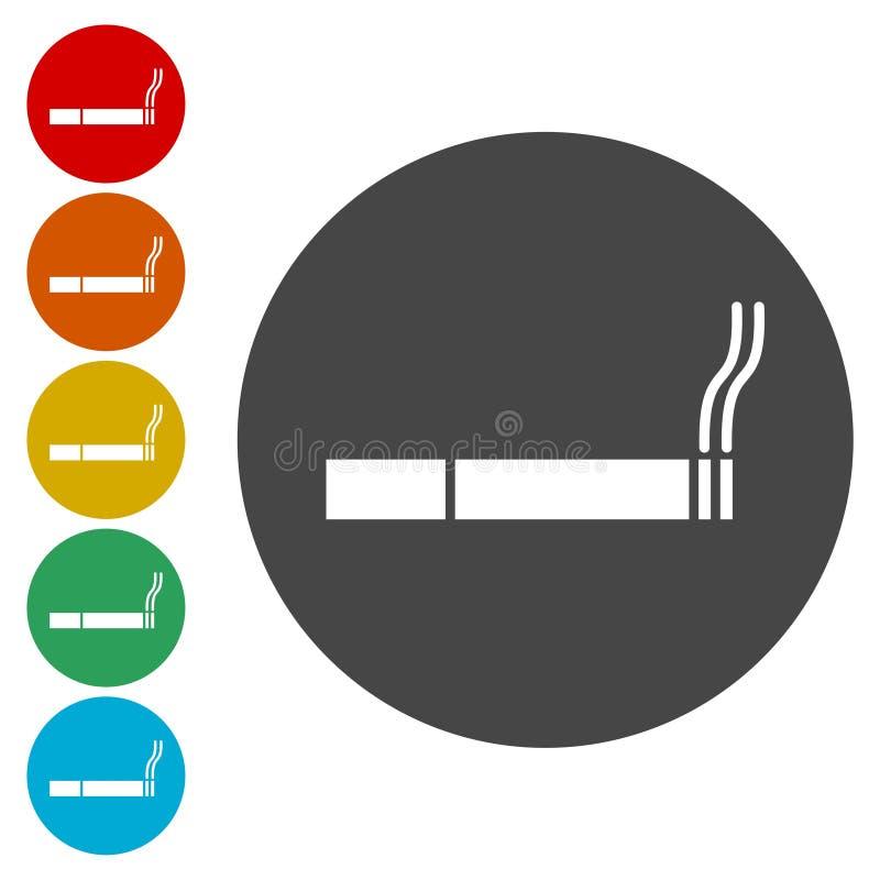 Cigarettsymbol - vektorklistermärkeuppsättning royaltyfri illustrationer