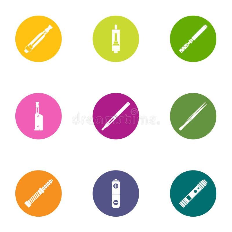 Cigarettsymbolsuppsättning, lägenhetstil vektor illustrationer