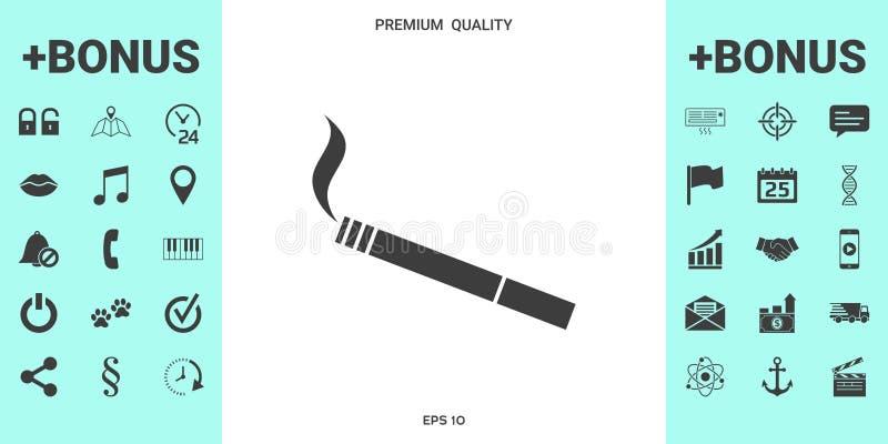 Cigarettsymbolsymbol stock illustrationer