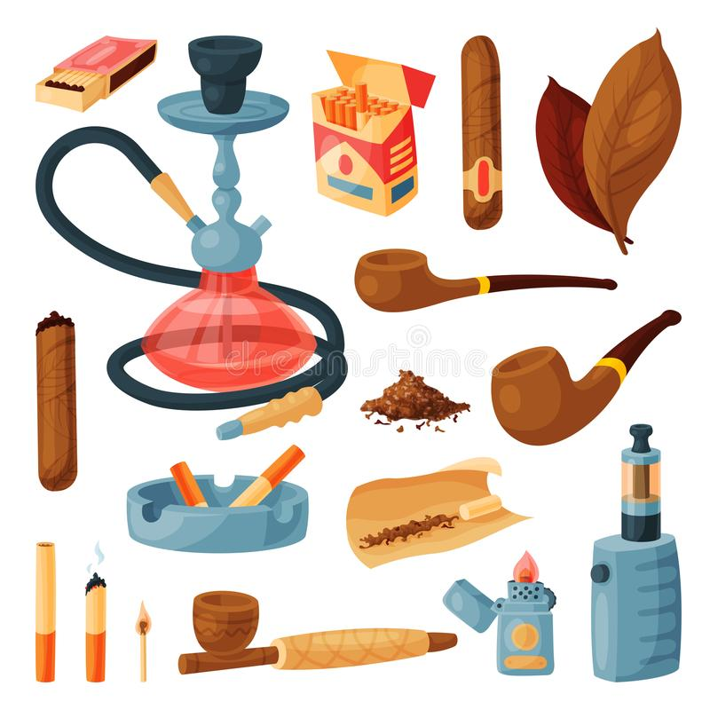 Cigarettvektor som röker tobak eller cigarren med nikotin, och cigarettstump i askfatillustrationuppsättning av cigarr-fallet ell royaltyfri illustrationer
