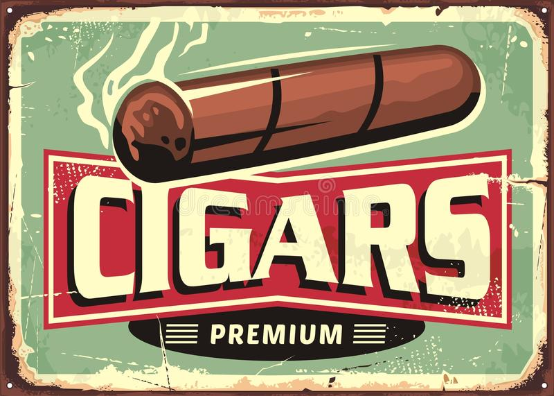 Cigarrer shoppar den retro teckendesignmallen stock illustrationer