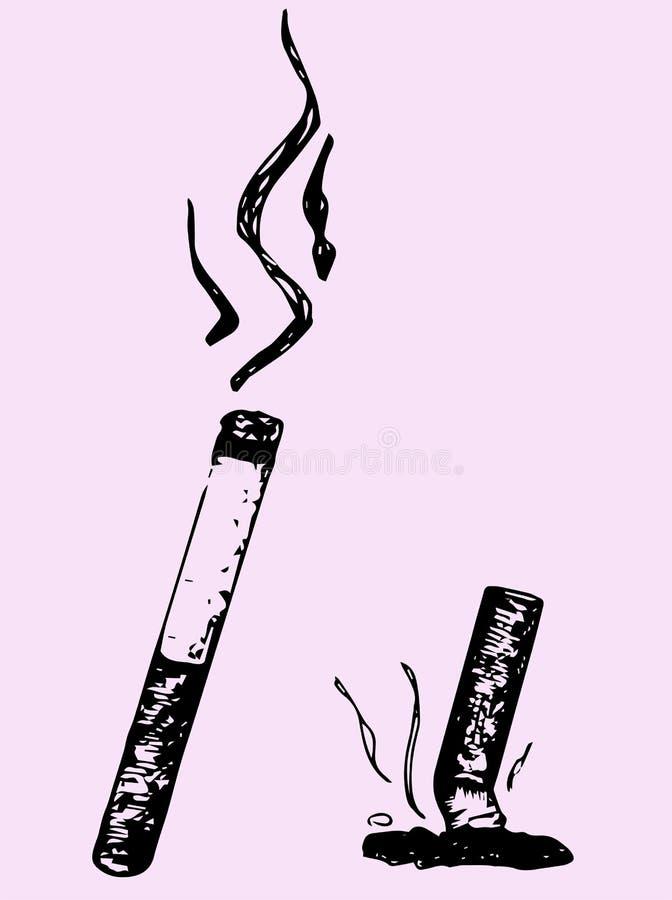 Cigarrillo del Lit y cigarrillo extinguido ilustración del vector