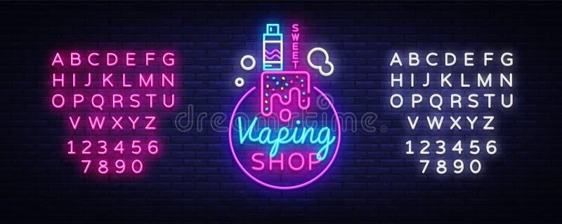 Cigarrillo electrónico del logotipo en el estilo de neón Señal de neón de la tienda de Vape, concepto dulce de la tienda de Vape, stock de ilustración