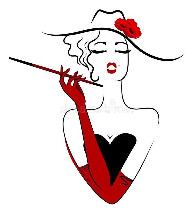 Cigarrillo que fuma de la señora encantadora ilustración del vector