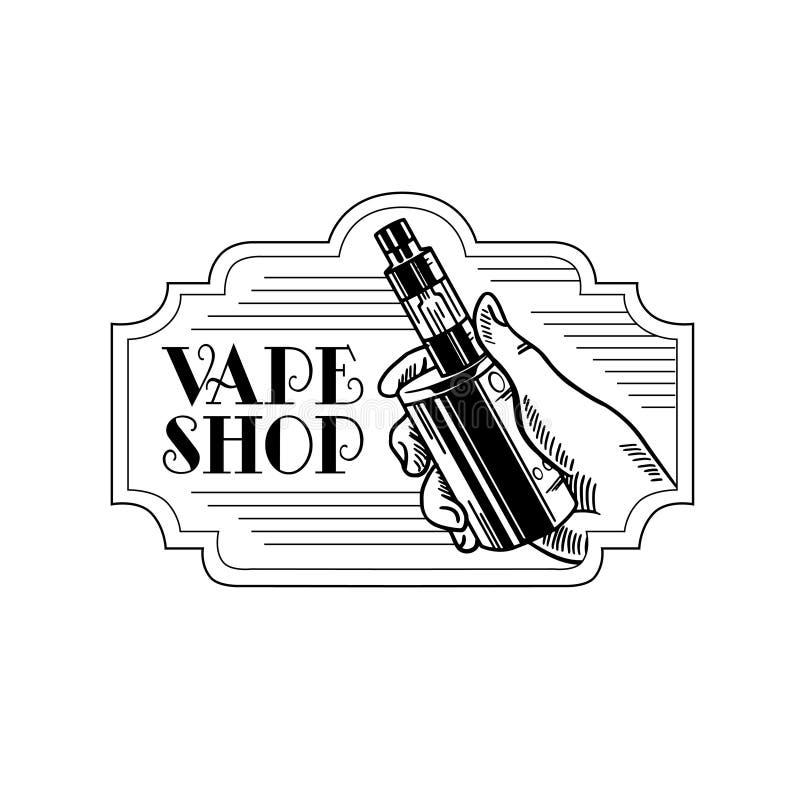 Cigarrillo y líquido electrónicos, insignias monocromáticas del vector de la tienda de Vape, emblemas ilustración del vector