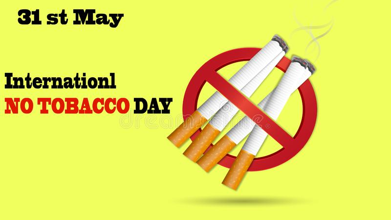 Cigarrillos con la muestra o el icono de ser prohibido y texto de ningún día del tabaco stock de ilustración