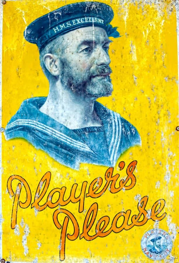 Cigarrillos de los jugadores Muestra del esmalte Endoso naval imagenes de archivo