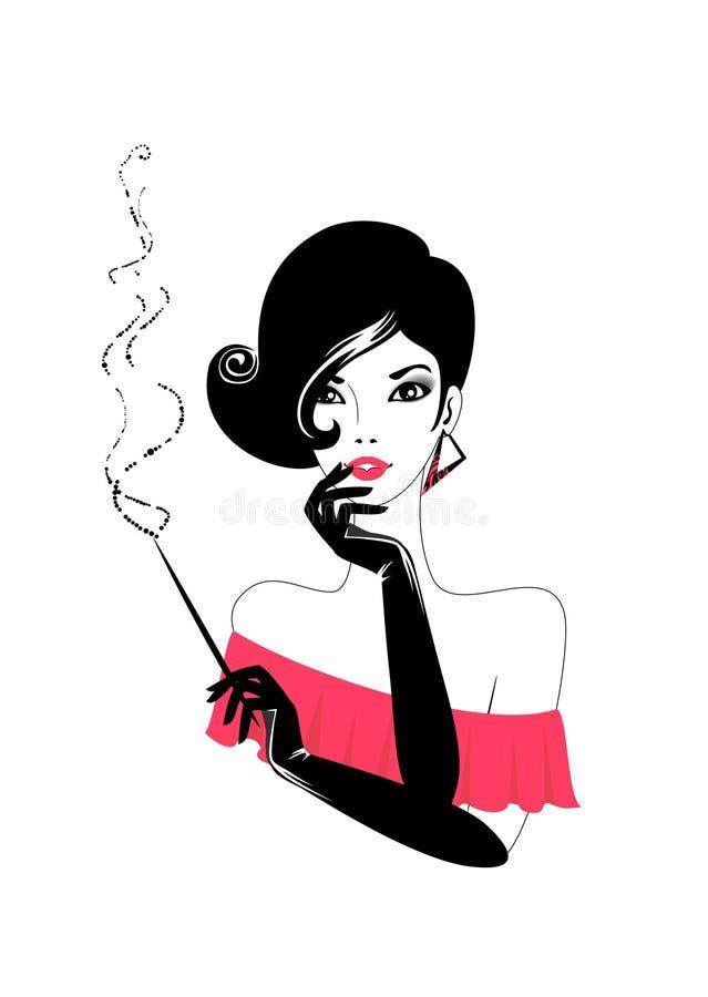cigarrkvinna royaltyfri illustrationer