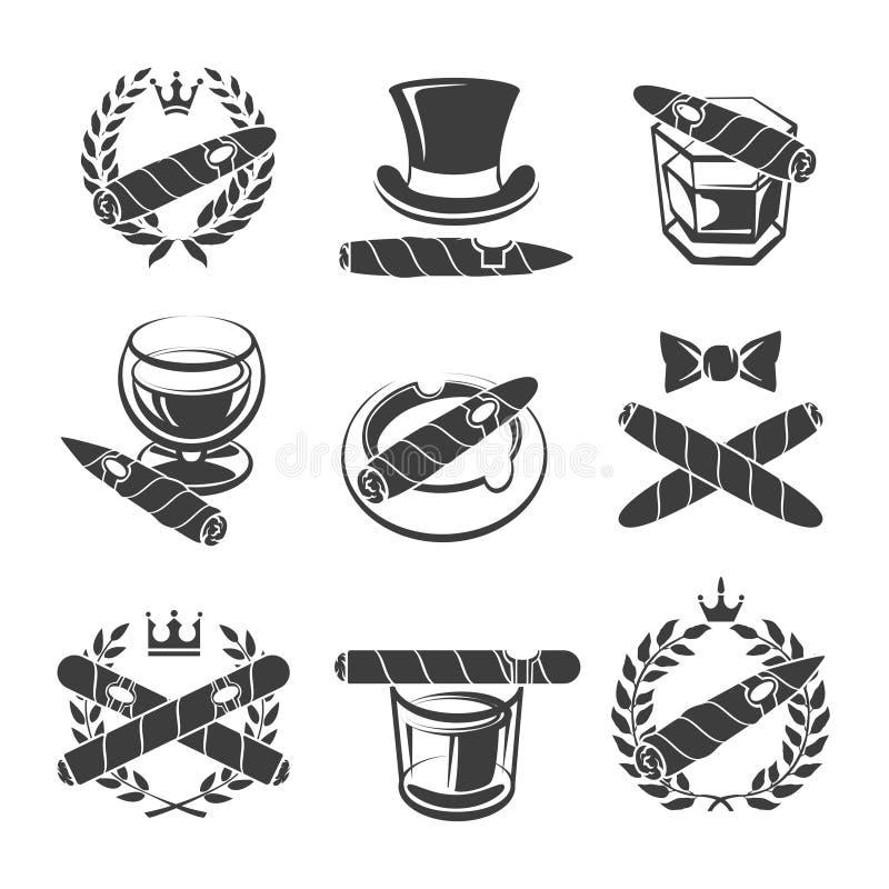 Cigarrlogouppsättning vektor illustrationer