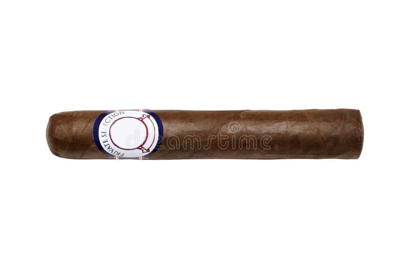 Cigarro aislado con el camino en blanco de la escritura de la etiqueta y de recortes fotografía de archivo