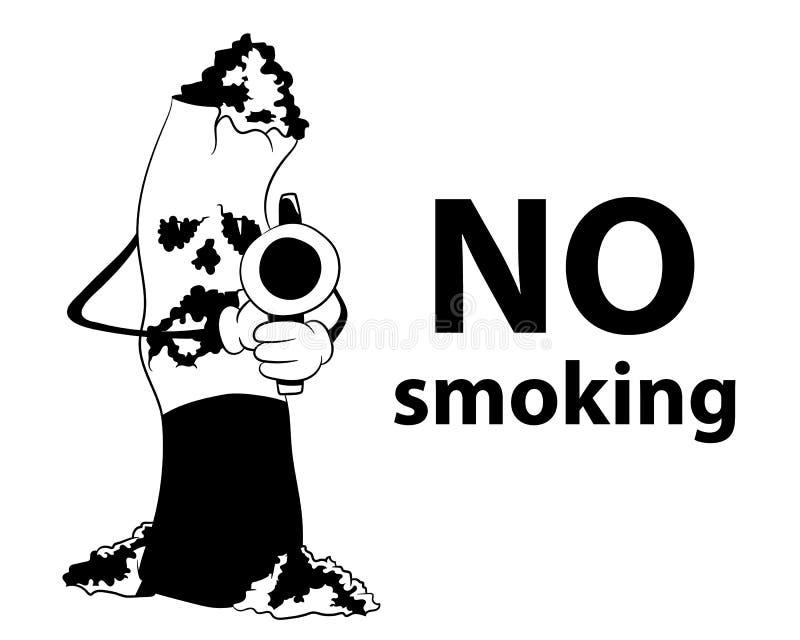 Cigarro da área não fumadores com a silhueta do preto da arma ilustração royalty free