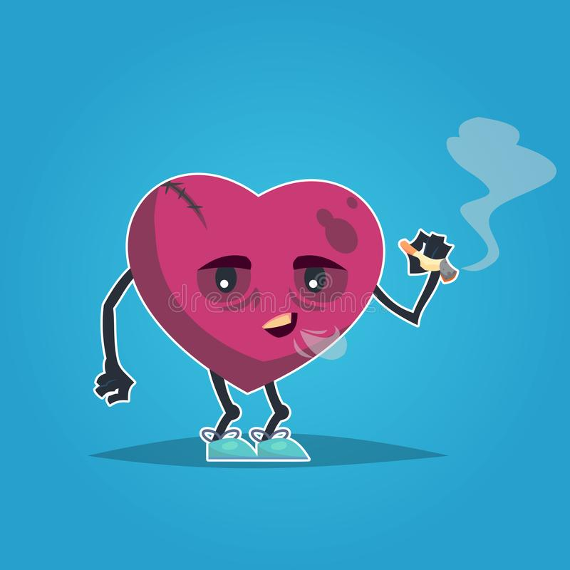 Cigarro de fumo do coração doente insalubre triste Projeto moderno do ícone da ilustração do personagem de banda desenhada do est ilustração royalty free