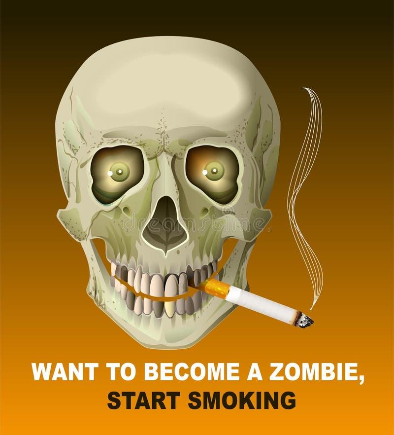 Cigarro de fumo do crânio humano Dano do fumo ilustração stock