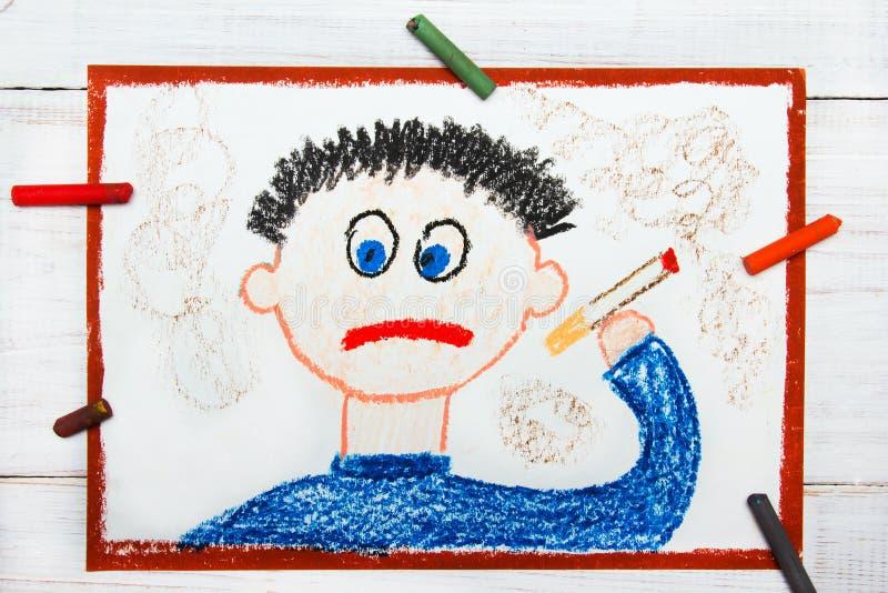 Cigarro de fumo do homem triste ilustração do vetor