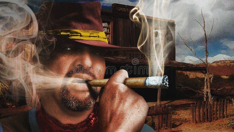 Cigarro de fumo do vaqueiro rude ilustração do vetor
