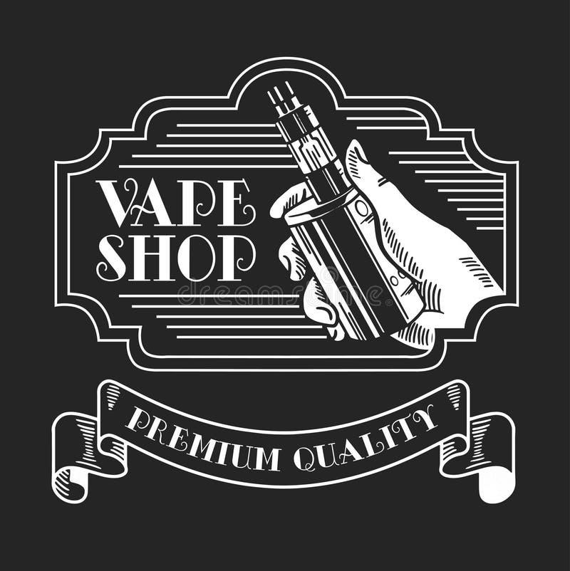 Cigarro e líquido eletrônicos, crachás monocromáticos do vetor da loja de Vape, emblemas ilustração royalty free