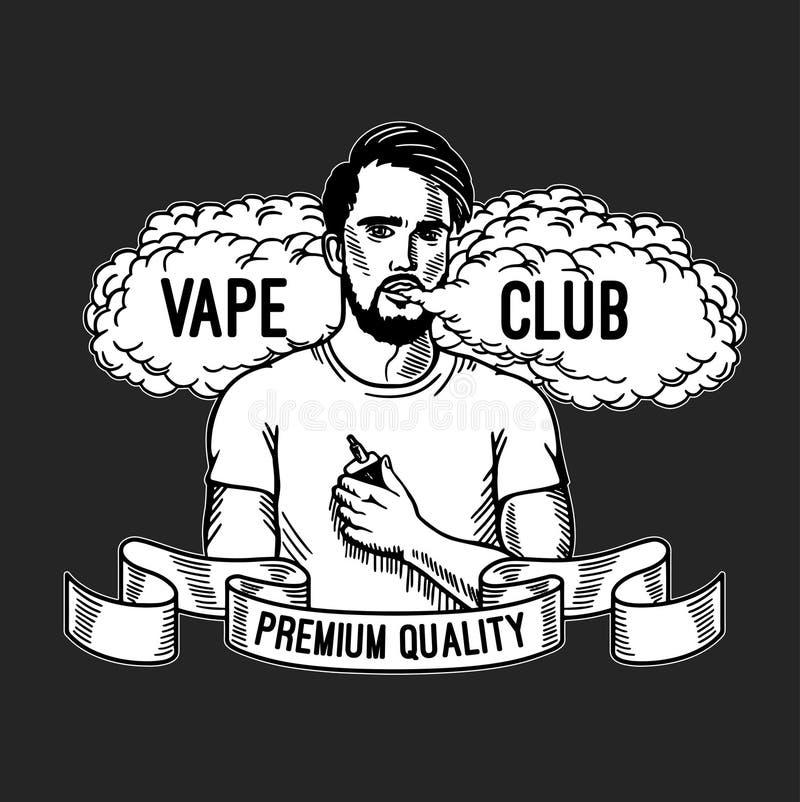Cigarro e líquido eletrônicos, crachás monocromáticos do vetor da loja de Vape, emblemas ilustração do vetor