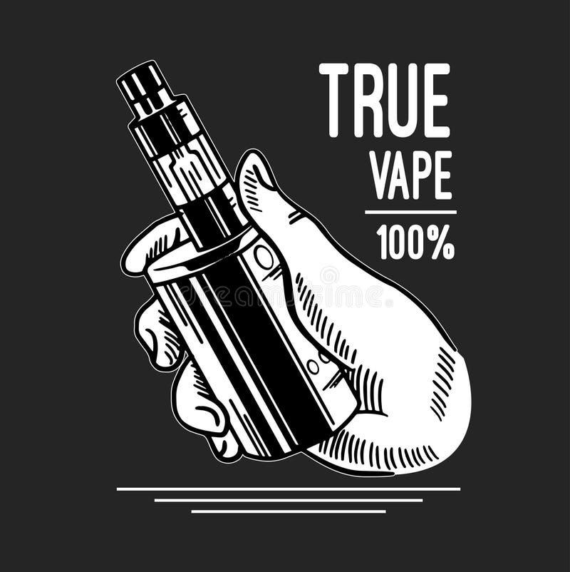 Cigarro e líquido eletrônicos, crachás monocromáticos do vetor da loja de Vape, emblemas ilustração stock