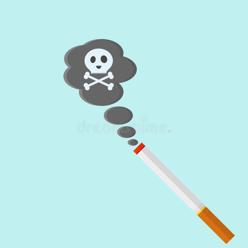 Cigarro no estilo liso Matanças de fumo ilustração do vetor
