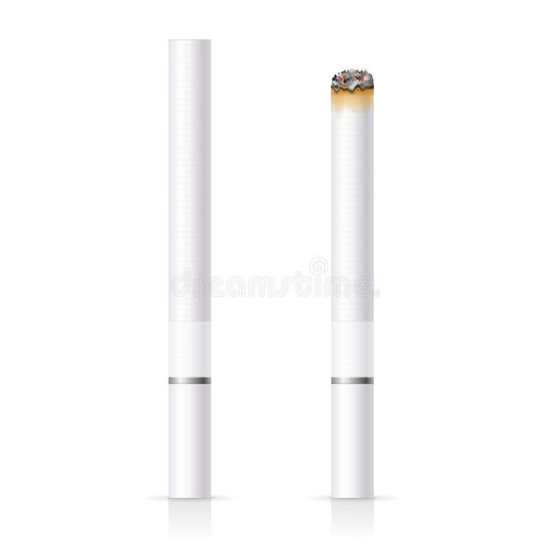 Cigarro realístico com filtro branco Vetor ilustração do vetor