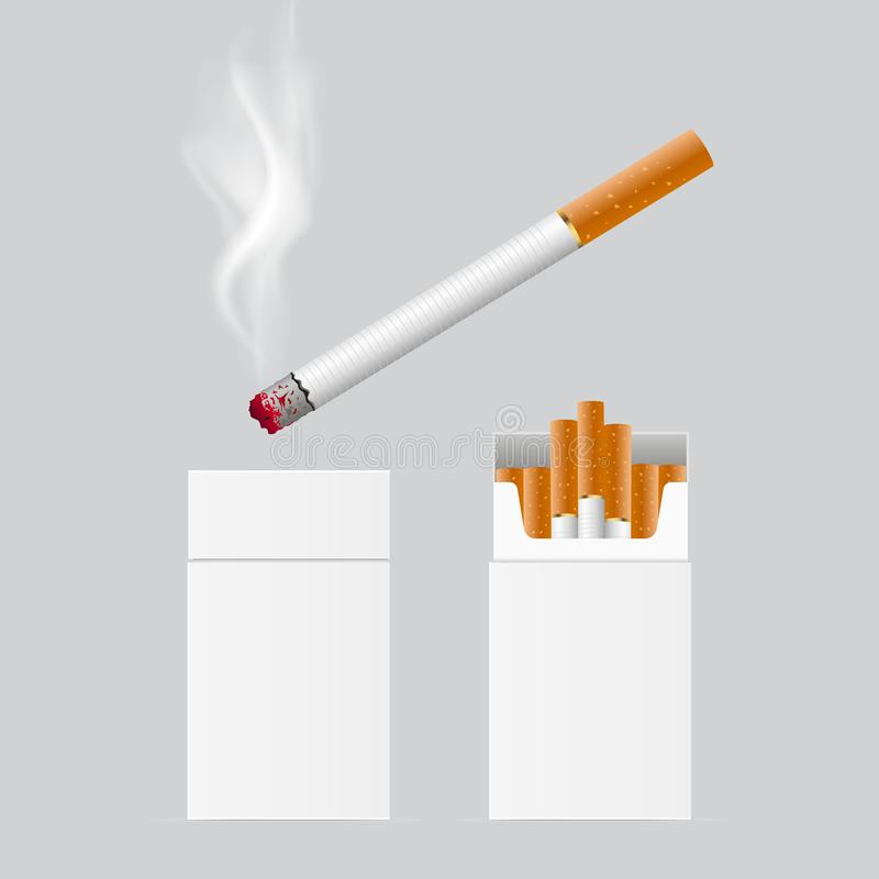 Cigarro realístico que embala e que queima um Vetor ilustração royalty free