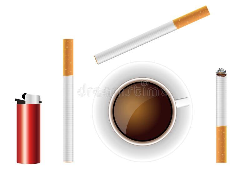 Cigarros com café ilustração do vetor