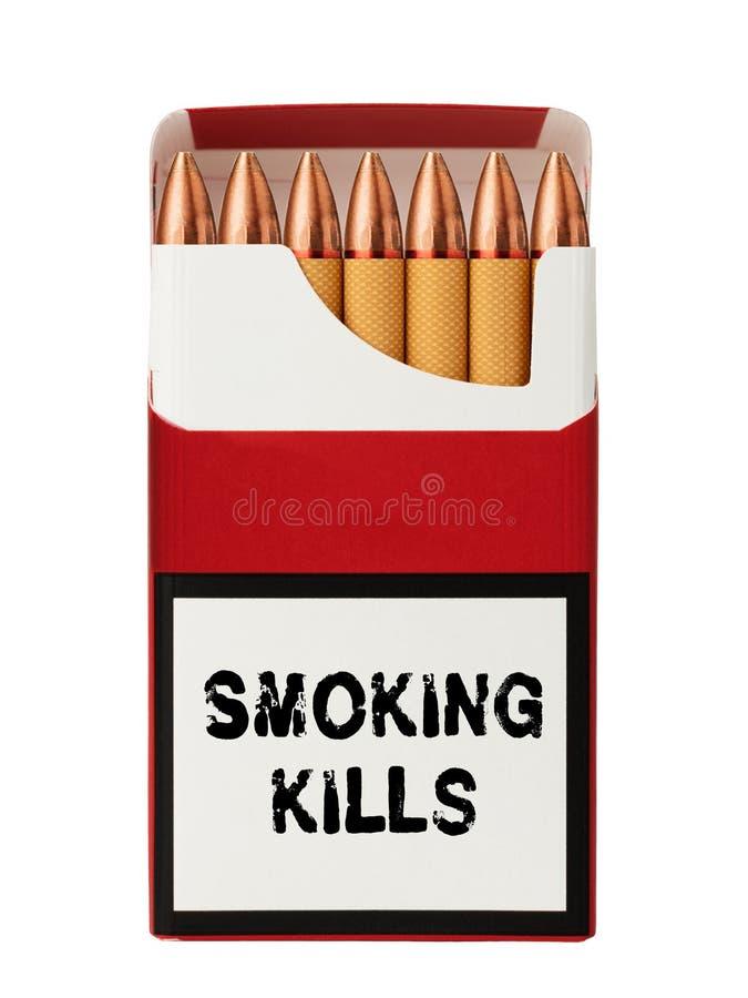 Cigarros com uma ponta sob a forma das balas e da inscrição fotos de stock