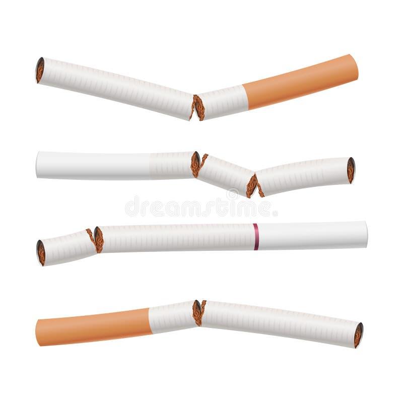 Cigarros quebrados vetor ajustado Matanças de fumo Pare fumar e conserve o dinheiro Mundo nenhum dia do tabaco Ilustração realíst ilustração royalty free
