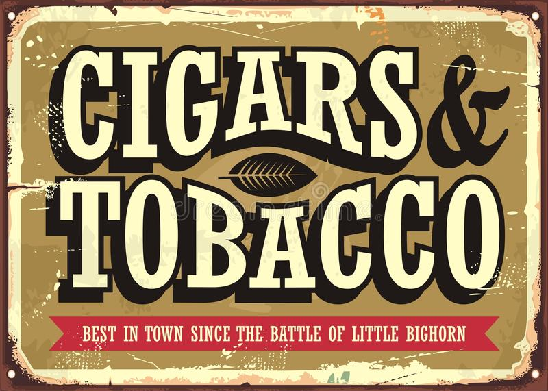 Cigars and tobacco vintage sign royalty free illustration