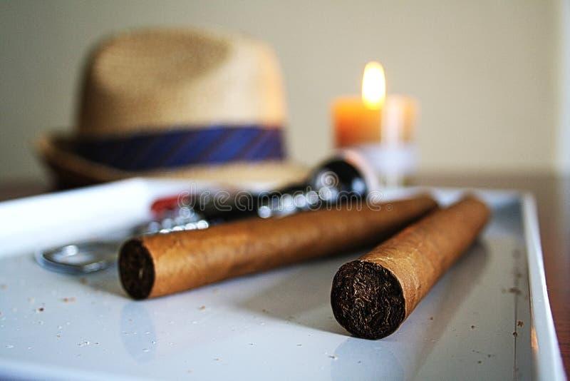 Cigars on Tray stock photos