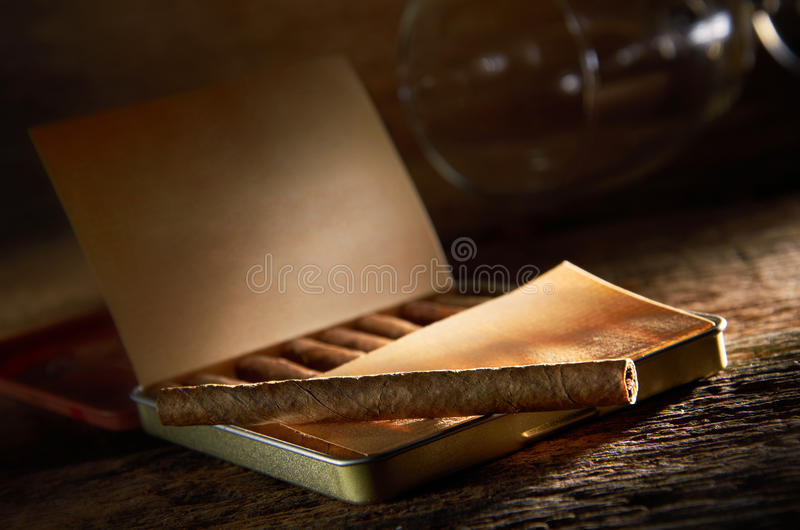 Cigars And Wine Glass royalty free stock photo