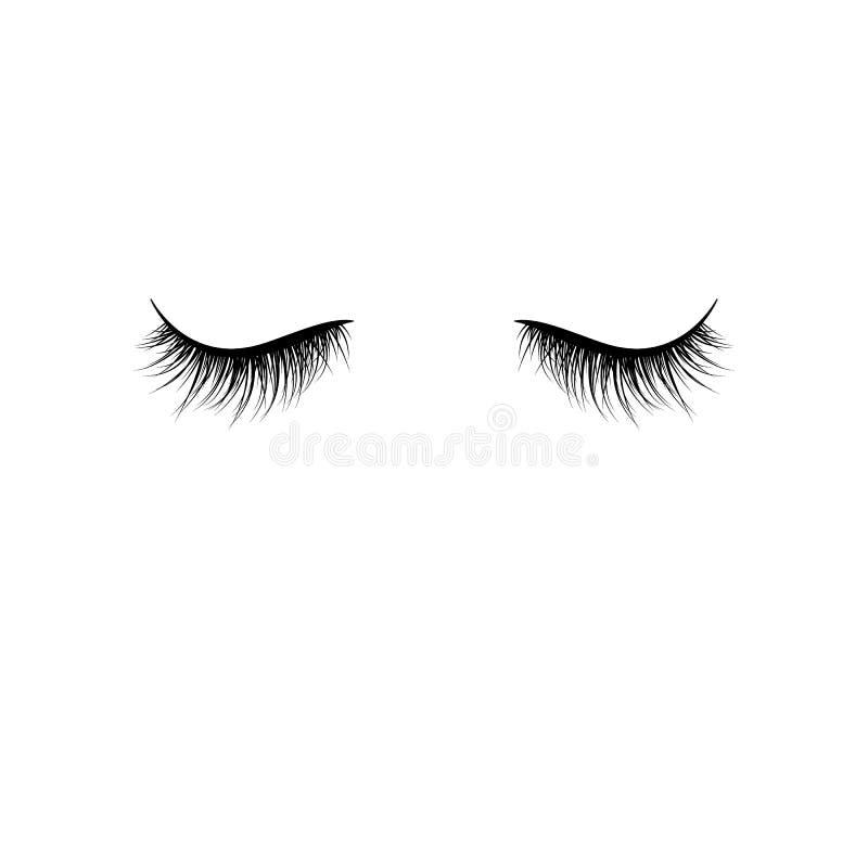 Cigli neri isolati su fondo bianco Cigli falsi Illustrazione di vettore illustrazione di stock