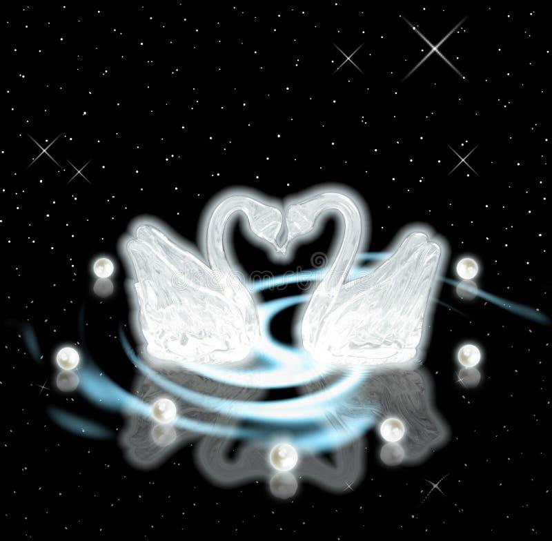 Cigni & perle. Concetto di amore & di devozione illustrazione vettoriale