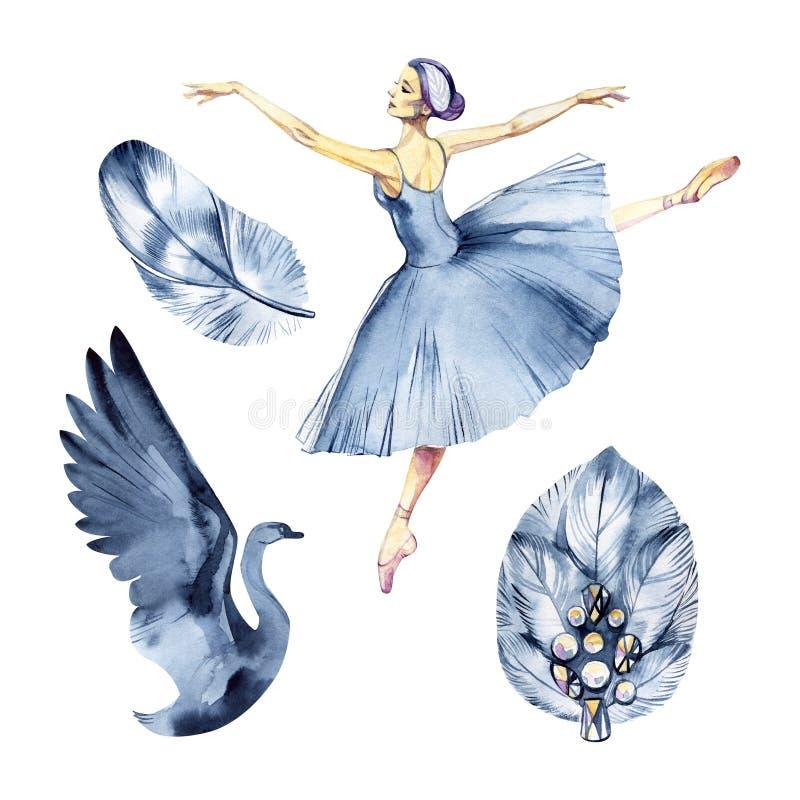 Cigni dell'acquerello due, giorno di biglietti di S. Valentino, amore, romanzesco Lago swan di balletto illustrazione vettoriale