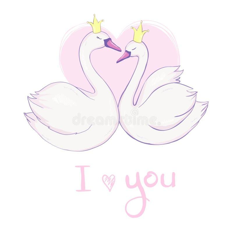 Cigno adorabile sveglio di principessa sull'illustrazione rosa di vettore del fondo illustrazione vettoriale