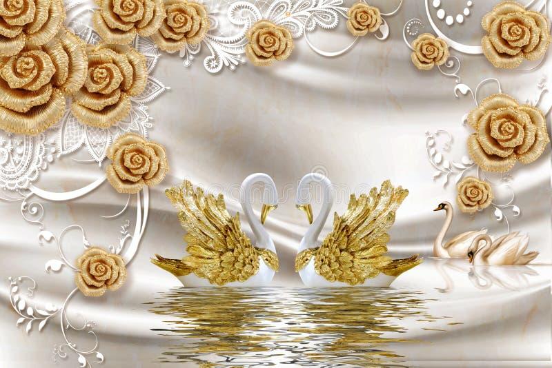 cigno dorato dell'illustrazione murala 3d in acqua con i gioielli floreali decorativi del fondo, palla 3d illustrazione di stock