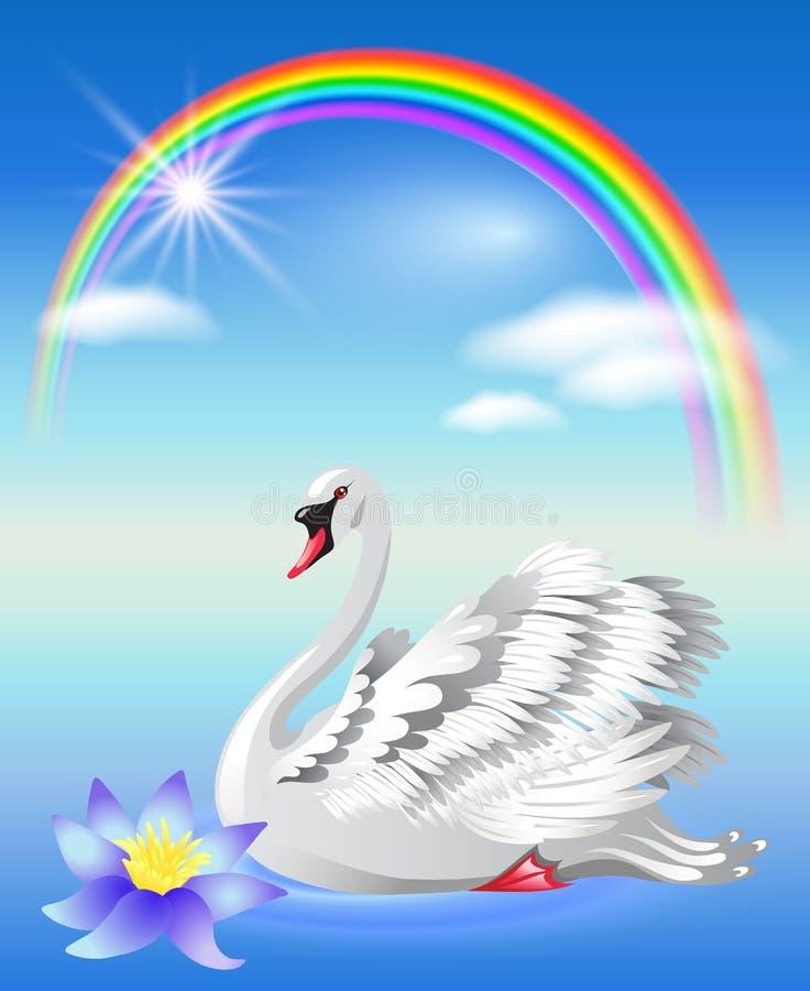 Cigno e Rainbow illustrazione di stock