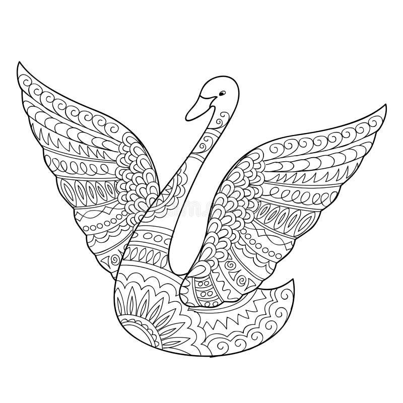 Cigno isolato decorato nello stile di boho illustrazione vettoriale