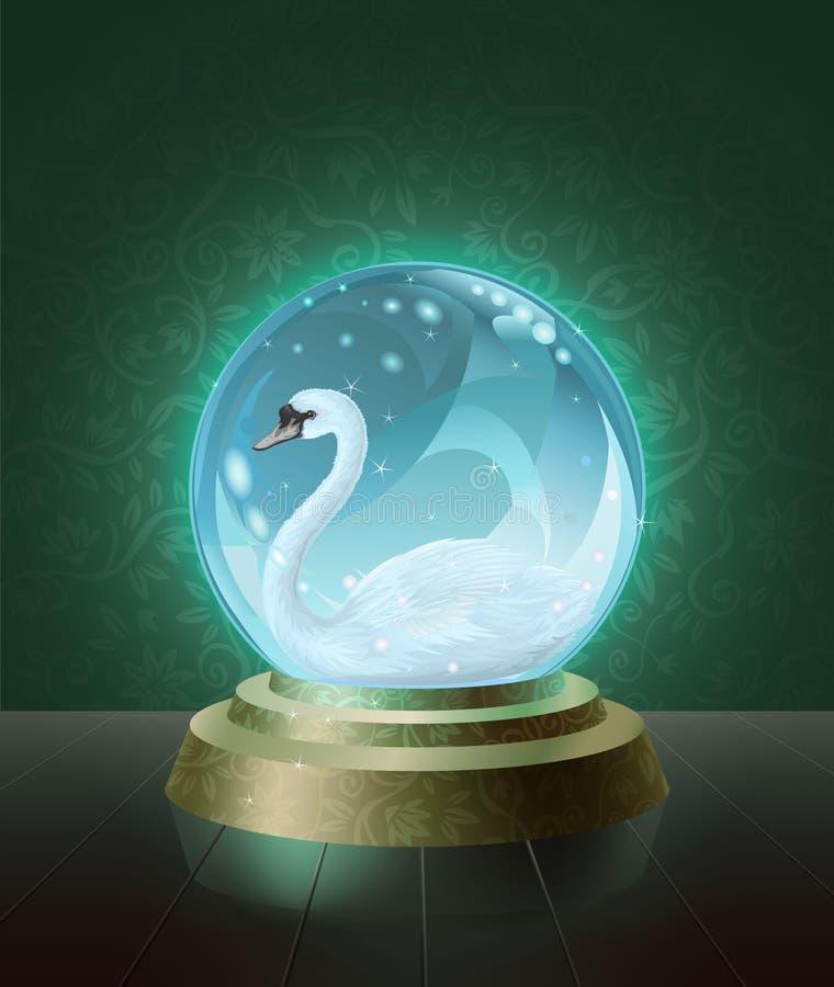 Cigno muto all'interno della sfera di cristallo illustrazione vettoriale