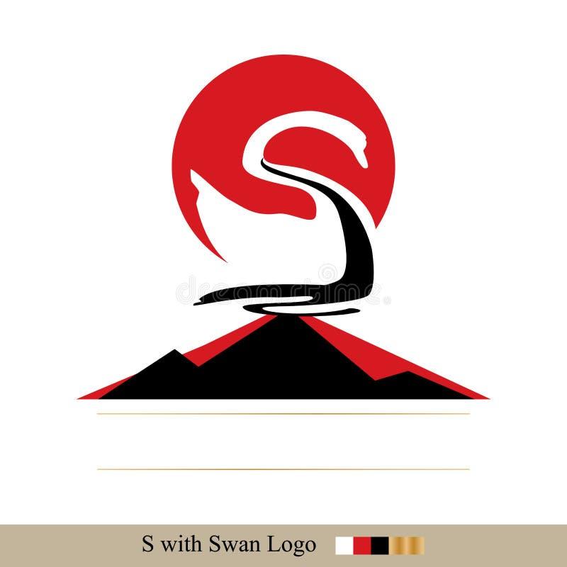 Cigno rosso di bianco del sole illustrazione di stock