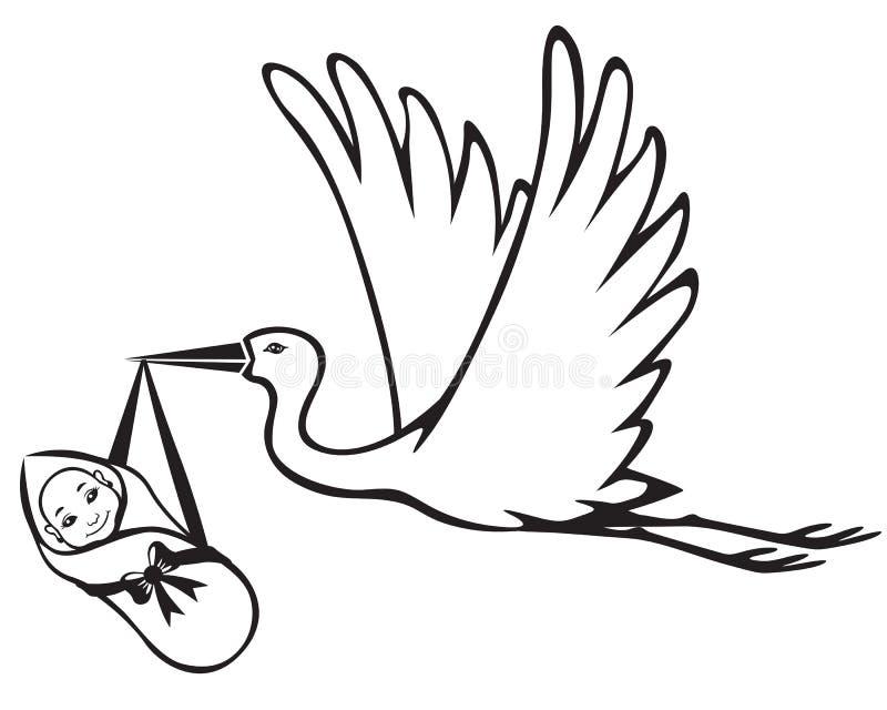 Cigogne avec le bébé illustration libre de droits