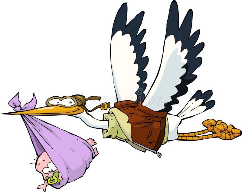 Cigogne avec le bébé illustration stock