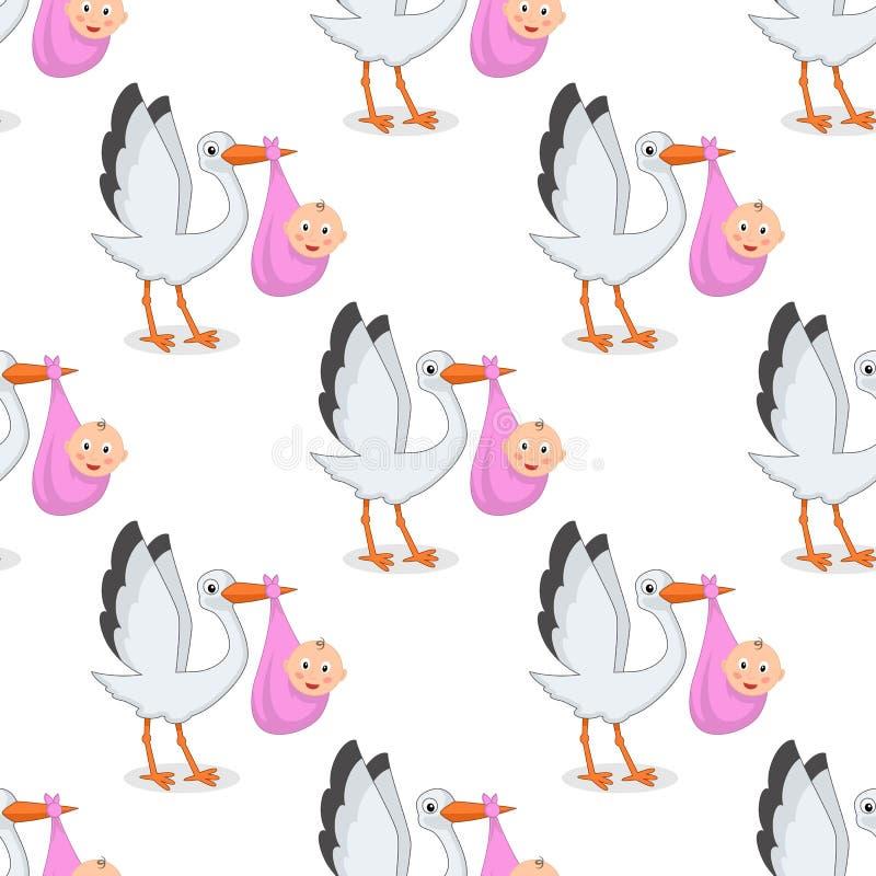 Cigogne avec le modèle sans couture de fille nouveau-née illustration libre de droits