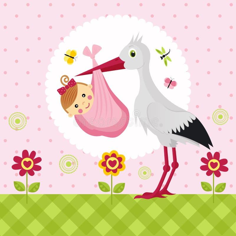 Cigogne avec un bébé dans un sac illustration de vecteur