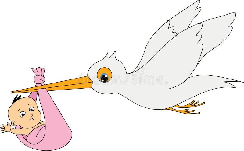 cigogne avec une chéri illustration de vecteur