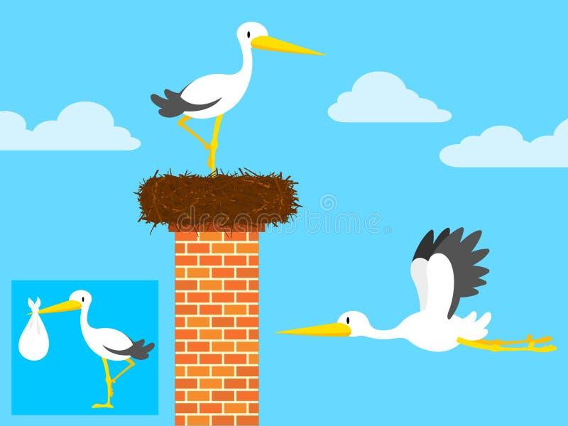Cigogne dans l'emboîtement sur la cheminée et le vol illustration de vecteur