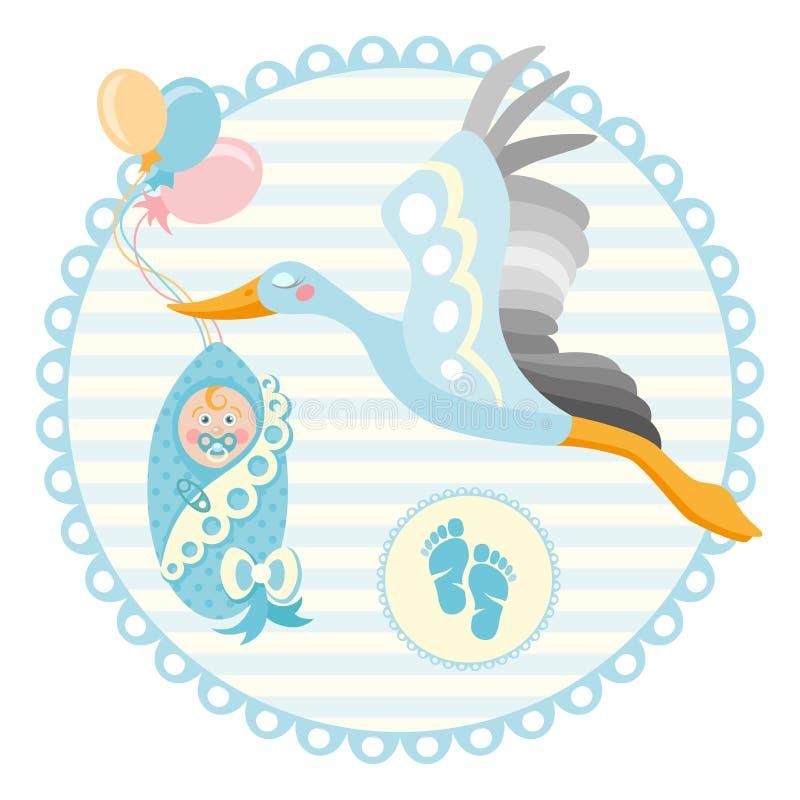 Cigogne de bande dessinée avec le bébé Calibre de conception pour la carte de voeux illustration libre de droits