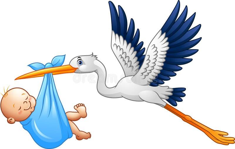 Cigogne de bande dessinée avec le bébé garçon illustration libre de droits