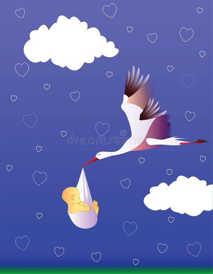 Cigogne et chéri illustration de vecteur